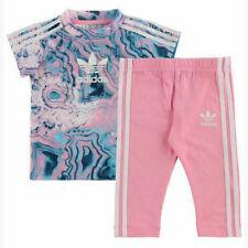 Adidas Girls Marble Tee Set T-Shirt Dress Leggings Outfit Baby Toddlers DV2325
