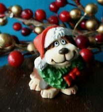 Hallmark Merry Miniature 1986 Sebastian Basset Hound with Wreath Rare New