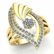 Right Hand Ring Solid 14Kt Gold 0.50t Round Cut Diamond Ladies Bridal Fancy