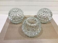 Set Of (3) Vintage Homco Clear Glass Round Ball Cubist Fairy Candle Lamps