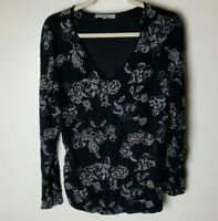 Daniel Rainn Women's Top Size Medium Floral Embroidered Black Blue Silver V-Neck