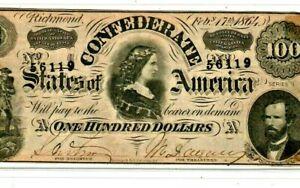 "$100 ""CONFEDERATE"" 1800'S $100 ""CONFEDERATE"" 1800'S $100  SUPER CRISPY !!!!!!!!!"
