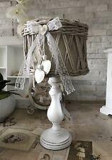 Tischleuchte Lampe Rattan 38 cm Clayre Eef Stehlampe Holzfuß Landhaus Shabby Top