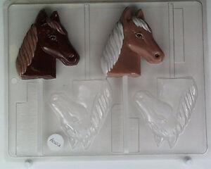 HORSE HEAD LOLLIPOP CLEAR PLASTIC CHOCOLATE CANDY MOLD AO102