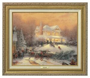 Thomas Kinkade Victorian Christmas II Canvas Classic (Gold Frame)