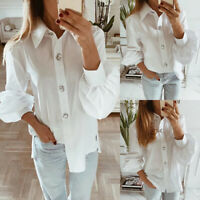 Women Lapel Button Shirt Tops Ladies Long Bell Sleeve Blouse Tunic Tops Casual
