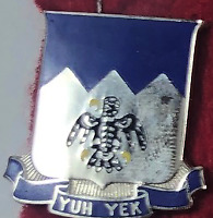 YUH YEK US ARMY 297TH REGIMENT CREST PIN RARE