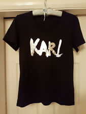 BNWT RRP £95 KARL LAGERFELD 7 BLACK SILVER LOGO COTTON T SHIRT MEDIUM