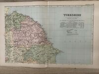 1899 NORTHEAST YORKSHIRE ORIGINAL ANTIQUE MAP BY G.W. BACON 121 YEARS OLD