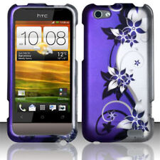 For Virgin Mobile HTC ONE V Rubberized HARD Case Phone Cover Purple Silver Vines