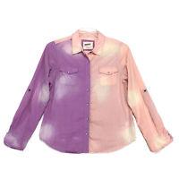 Arizona Shirt Womens Size L Large Purple Orange Pearl Snap Front Long Sleeve