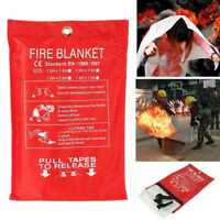 FIRE BLANKET 1M x 1M QUALITY QUICK RELEASE LARGE FULLY APPROVED RED CASE C9A8