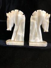 Set of Art Deco Marble Alabaster Horse Head Book Ends