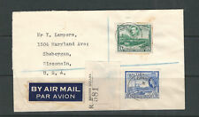 BRITISH GUIANA 1958 REGISTERED AIRMAIL cvr to WISCONSIN (mixed KGVI/QEII stamps)