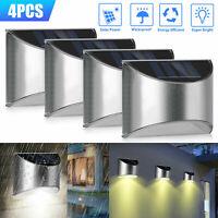 4 LED Solar Powered Gutter Fence Lights Outdoor Garden Path Waterproof Wall Lamp