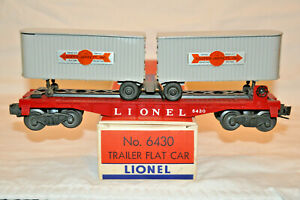LIONEL #6430 FLAT CAR WITH GRAY TRAILERS WITH ORIGINAL BOX
