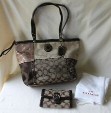 Authentic Coach Bag G1273-F20075 Legacy Signature Tote Brown Metallic & Wallet