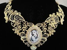 necklace 18k gold p lace black white Marilyn Monroe vintage victorian style FIOJ