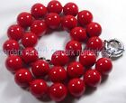 Fashion 8/10/12mm Coral Red South Sea Shell Pearl Round Beads Necklace 18''