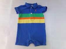 Ralph Lauren Pique Polo Shirt Blue Striped Colorful One Piece Coverall Size 3M