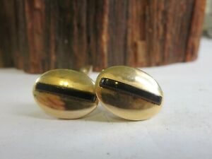 Vintage Signed Swank Gold Tone Banded Red Lucite Men's Cuff Links E4