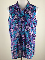 COLDWATER CREEK S'less Lightweight NO IRON Cotton Floral Blouse- 14, Purple Turq