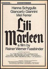 LILI MARLEEN__Original 1981 Trade AD promo / poster__RAINER WERNER FASSBINDER