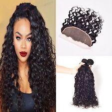 400g/4bundles 8A brazillian virgin water wave human hair &13x4 lace closure uk