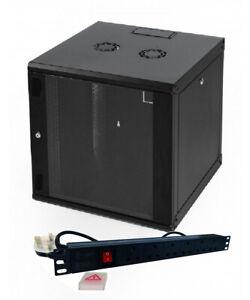 "15u 550mm 19"" Black Wall Mounted Data Cabinet, 6 way Power Distribution Unit"