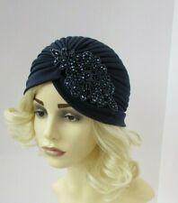 Navy Blue Beaded Turban Headpiece 1920s Flapper Cloche Great Gatsby Hair 7058