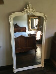 Large Antique Cream Ivory Ornate French Shabby Chic Dress Arch Leaner Mirror 7ft