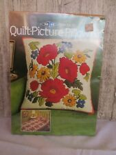 """VINTAGE 1981 SEW-EASY QUILT-PICTURE-PILLOW KIT BEAUTIFUL """"POPPIES"""" NOS MIP"""