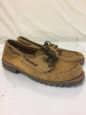 Mens Cabelas Boat Shoes Light BrownLeather Sz 8.5M Vintage Cheap Suede Trail