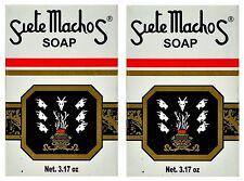 2 Packs Original URANIA SIETE MACHOS  BAR SOAP JABON 7 Males 3.17 Oz (90 g) Each