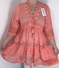 NEW Lace Tunic Coral Drawstring Ornate Gold Floral Soft Long Fits Size 14-20