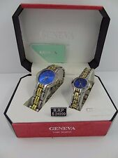 Geneva Men's & Women's Two Tone Blue Dial Classic Collection Watch Set G-39