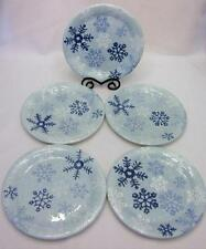 Target Home WINTER FROST Set / 5 Dinner Plates Blue Snowflakes Christmas EUC