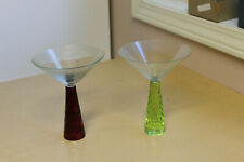 2 Awesome Vintage Mid Century Modern Martini Glasses-Green/Red Cut Stems