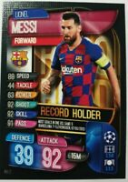 Match Attax Champions League Extra 2019/2020 Record Holder Messi Topps Panini