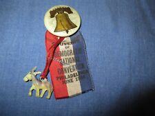 JUNE 1936 DEMOCRATIC NATIONAL CONVERNTION SOUVENIR PIN PHILADELPHIA FDR