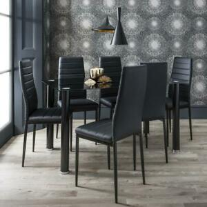 Glass Dining Table And Chairs - 6 Seater Set (white & black option)