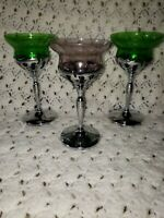 Silver Stemmed Colored Glass Wine Glasses Lot of 3 2 Green 1 Purple