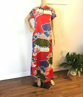 Vintage Hilo Hattie Muumuu Maxi Dress Hawaiian Floral Short Sleeves sz S