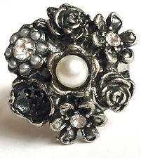 Silver Plated Rose Flower Cocktail Ring Bloom Pearl Crystal Size 7 8 Vintage