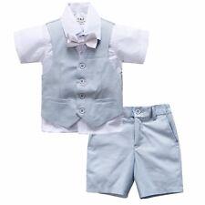Page Boy Christening Wedding 4pc Short Linen Blend Pale Blue Suit 6 Ms - 5 Yrs