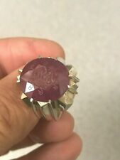 CUSTOM HAND MADE CARVE CUT DESIGN MEN'S SILVER RING, LARGE GENUINE RED RUBY