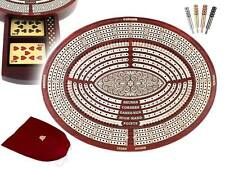 Oval Shape 4 Tracks Continuous Cribbage Board in Bloodwood + Skunks & Corners
