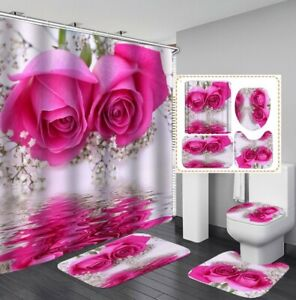 3D Rose Flowers Shower Curtain Floor Mat Toilet Lid Cover Bathroom Rugs 4PCS