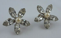 Signed Sherman Clear Aurora Borealis Crystal and Faux Pearl Screw Back Earrings
