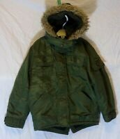 Boys George Khaki Green Padded Hooded Warm Winter Parka Coat Age 5-6 Years